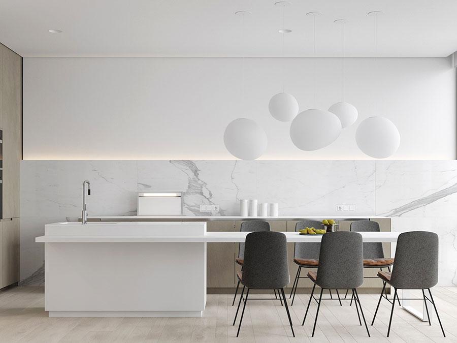 Modello di cucina con top, piani e rivestimenti in marmo n.28