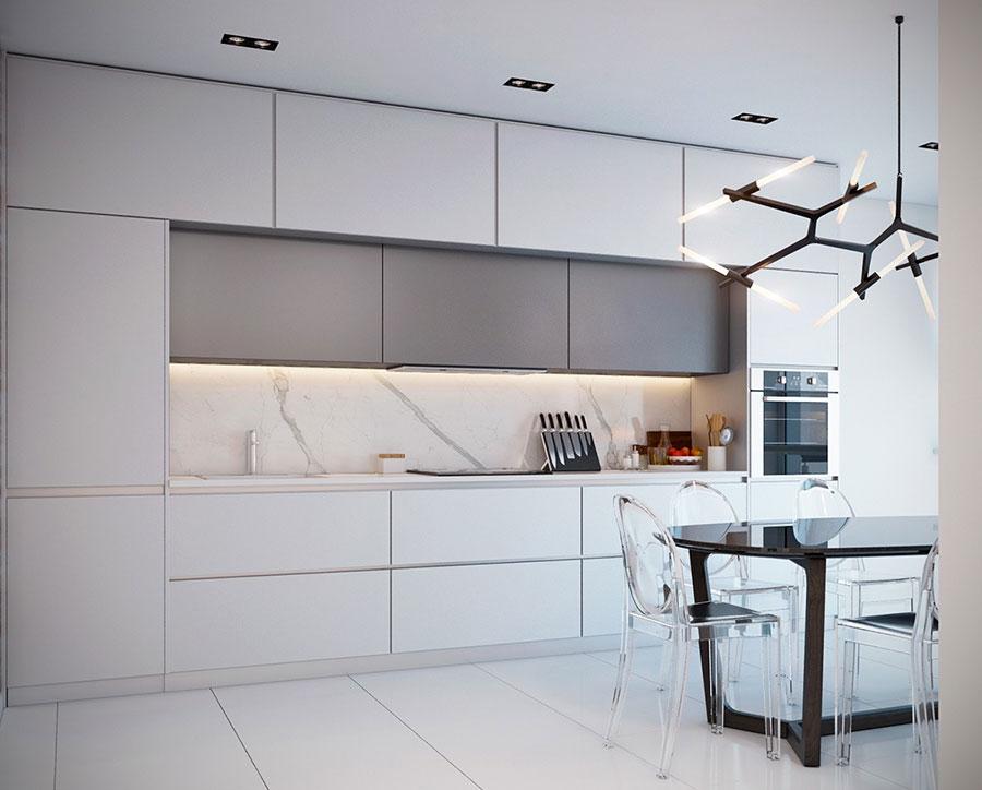 Modello di cucina con top, piani e rivestimenti in marmo n.29
