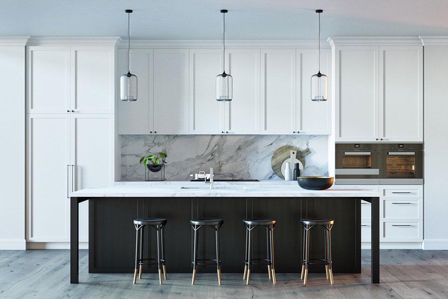 Modello di cucina con top, piani e rivestimenti in marmo n.30