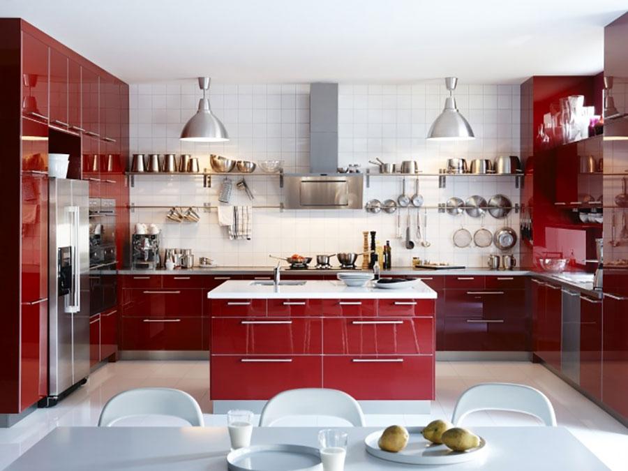 Modello di cucina rossa Ikea n.03