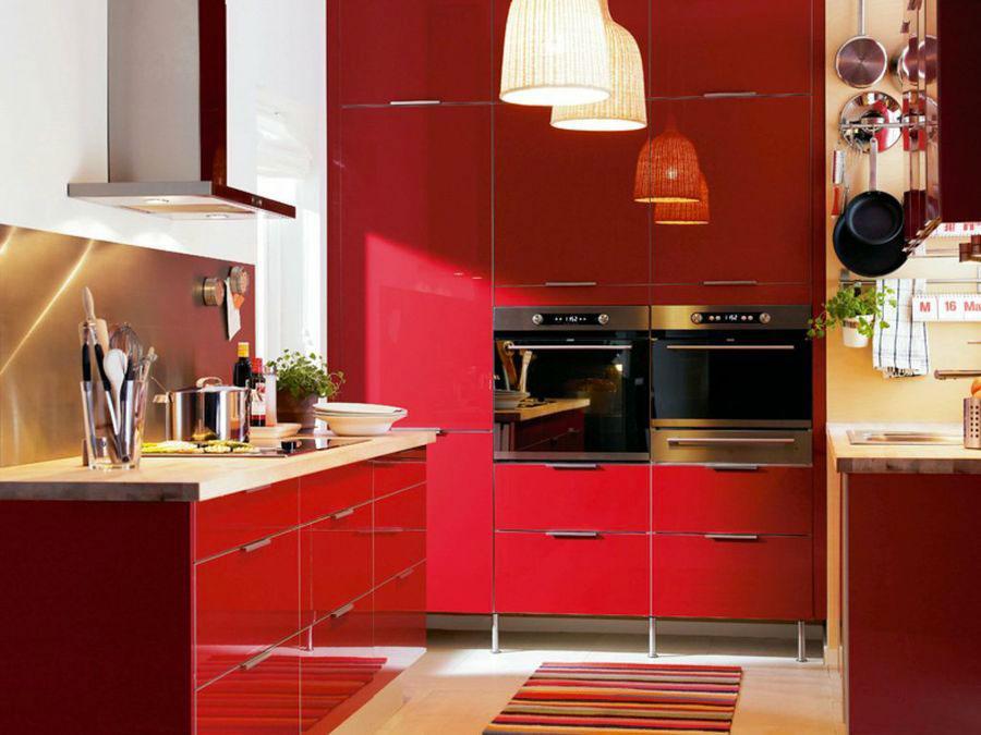 Modello di cucina rossa Ikea n.04