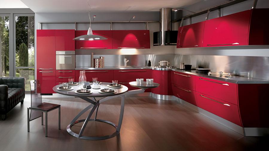 Modello di cucina rossa dal design moderno n.01