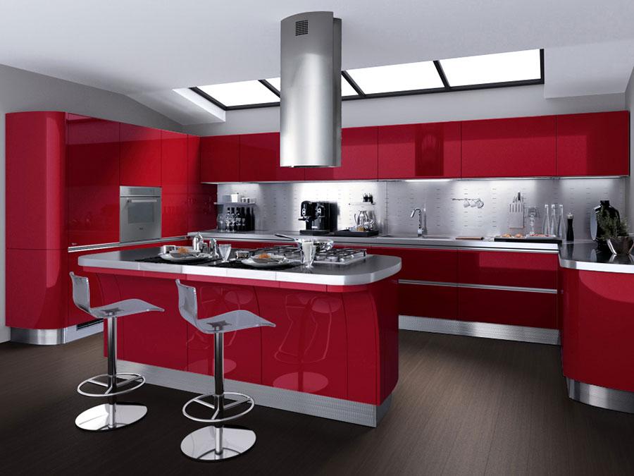 Modello di cucina rossa dal design moderno n.02