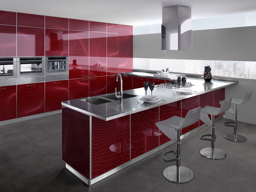 Modello di cucina rossa dal design moderno n.03