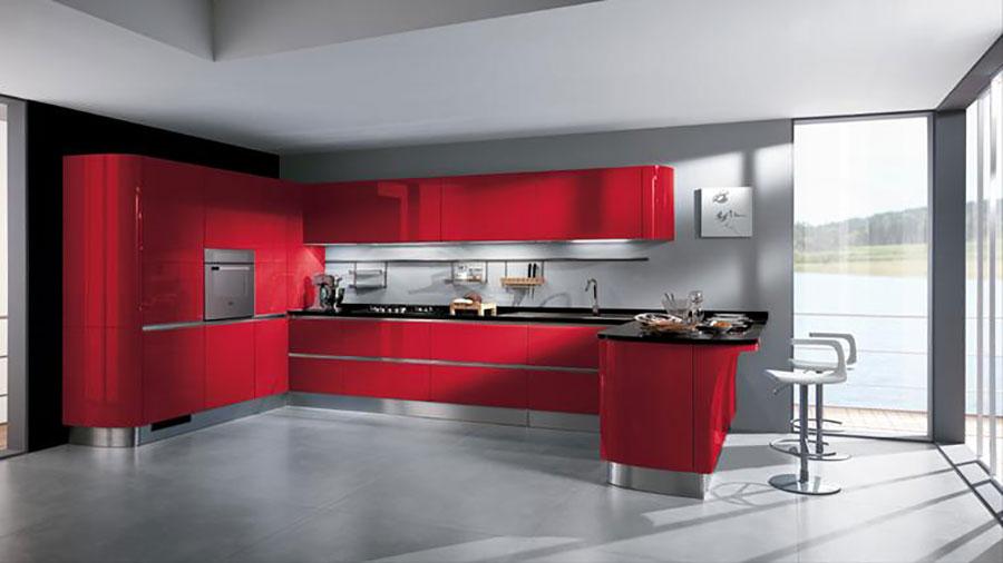 Modello di cucina rossa dal design moderno n.04