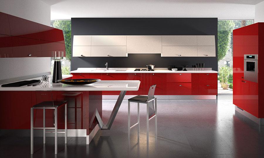 cucina rossa e bianca laccata