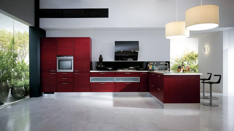 Modello di cucina rossa dal design moderno n.06