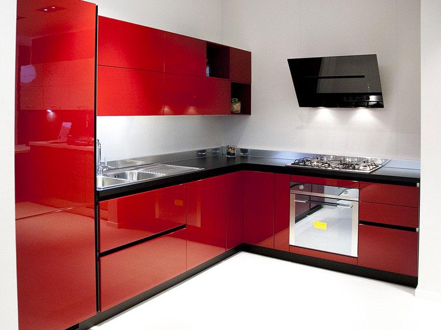 Modello di cucina rossa dal design moderno n.08