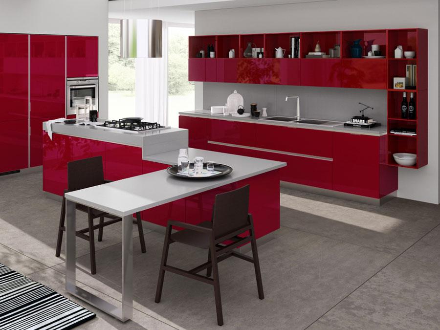 Modello di cucina rossa dal design moderno n.09