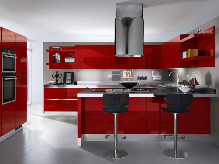 Modello di cucina rossa dal design moderno n.10