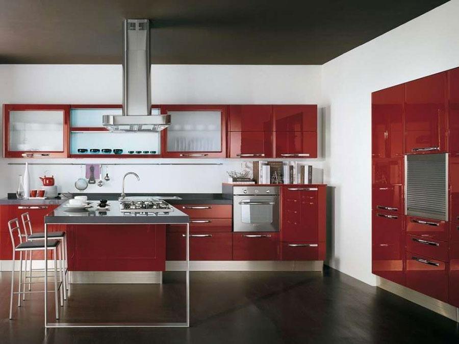 Modello di cucina rossa dal design moderno n.12