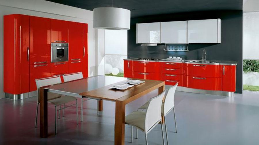 Modello di cucina rossa dal design moderno n.14