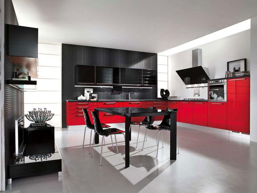 Modello di cucina rossa dal design moderno n.15