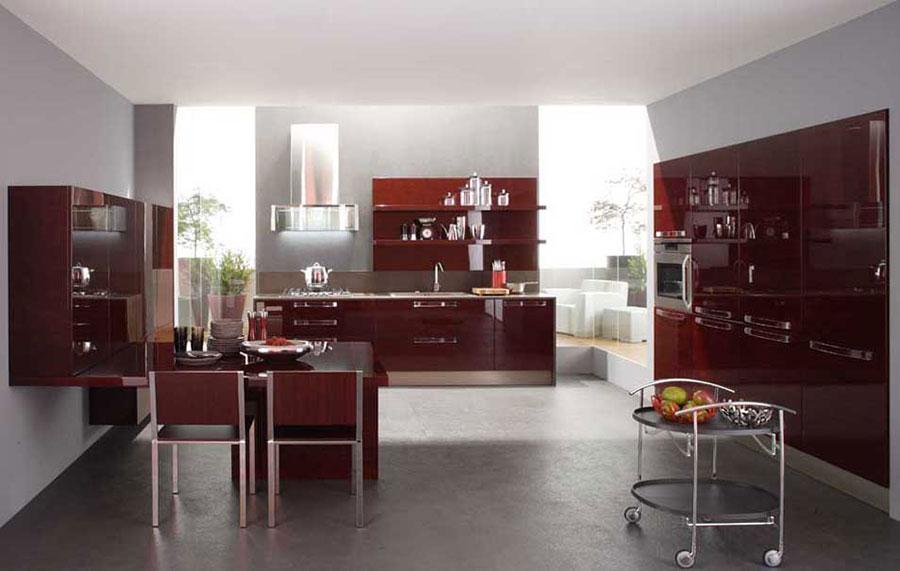 Modello di cucina rossa dal design moderno n.17