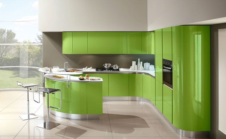 Modello di cucina verde dal design moderno n.01