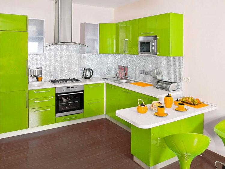 Modello di cucina verde dal design moderno n.03