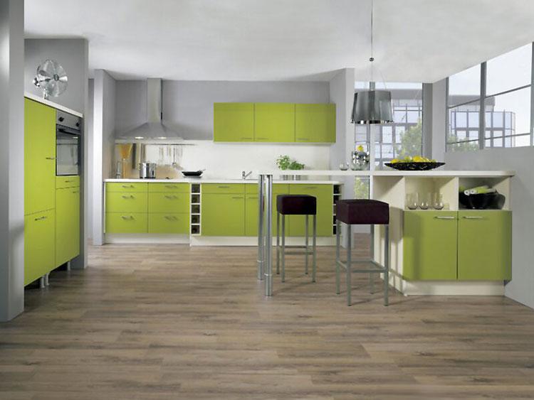 Modello di cucina verde dal design moderno n.05