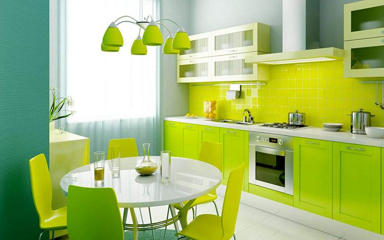 Modello di cucina verde dal design moderno n.06