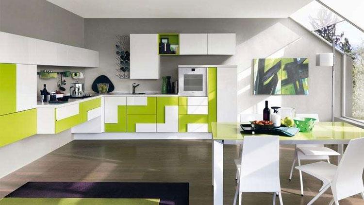 Modello di cucina verde dal design moderno n.07