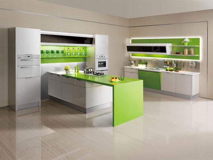 Modello di cucina verde dal design moderno n.08