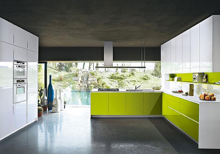 Modello di cucina verde dal design moderno n.09