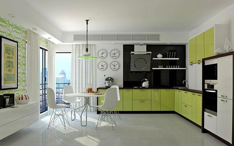 Modello di cucina verde dal design moderno n.13