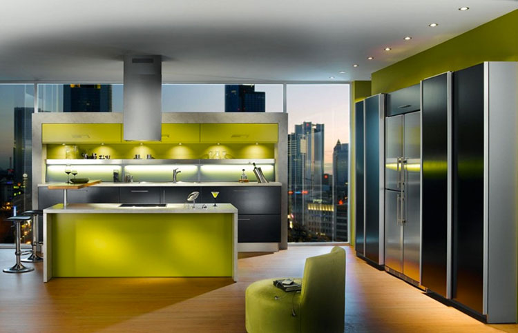 Modello di cucina verde dal design moderno n.14