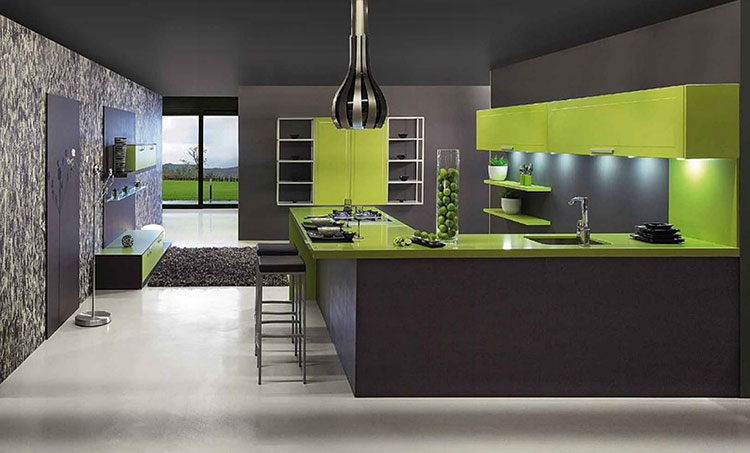 Modello di cucina verde dal design moderno n.18