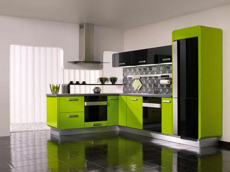 Modello di cucina verde dal design moderno n.19