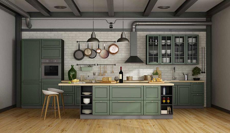 Idee cucina verde scuro n.05