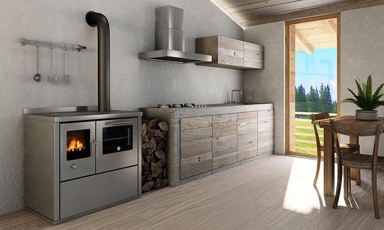Modello di cucina a legna con forno integrato n.11