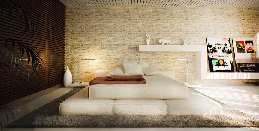 Pareti in pietra per la camera da letto