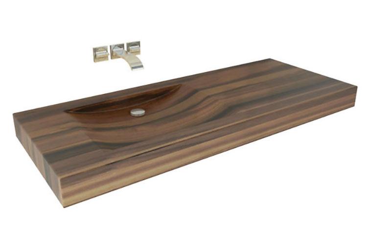 Modello di lavabo bagno in legno dal design originale n.01