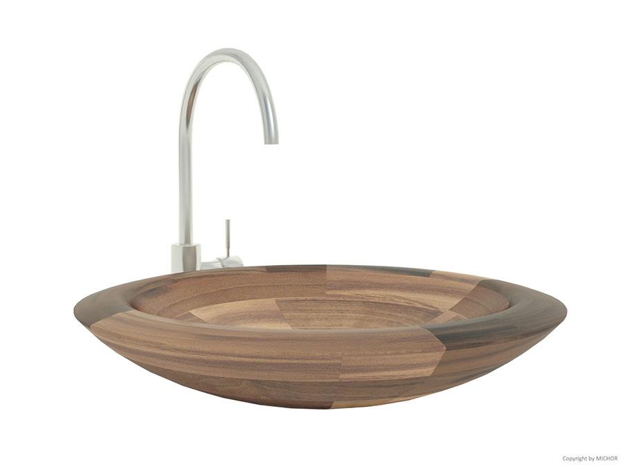 Modello di lavabo bagno in legno dal design originale n.02