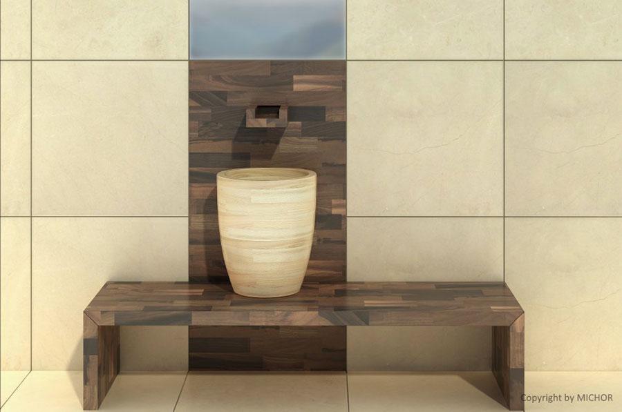 Modello di lavabo bagno in legno dal design originale n.03