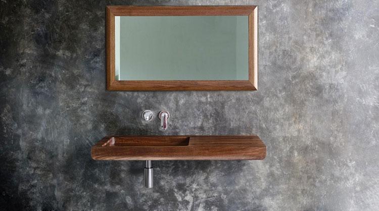 Modello di lavabo bagno in legno dal design originale n.04