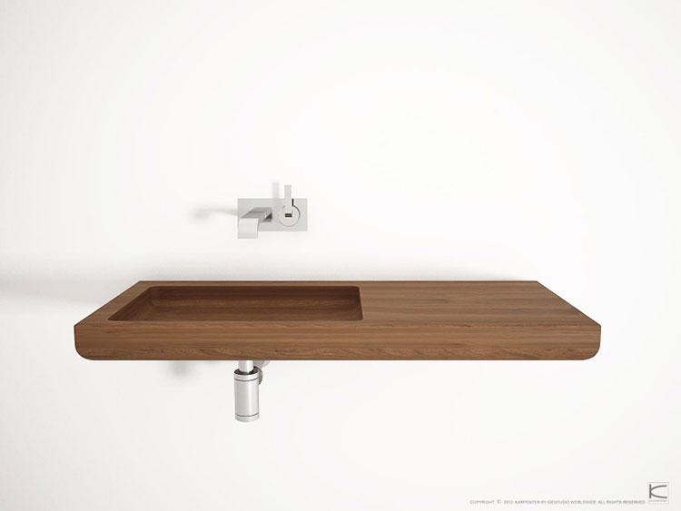 Modello di lavabo bagno in legno dal design originale n.05