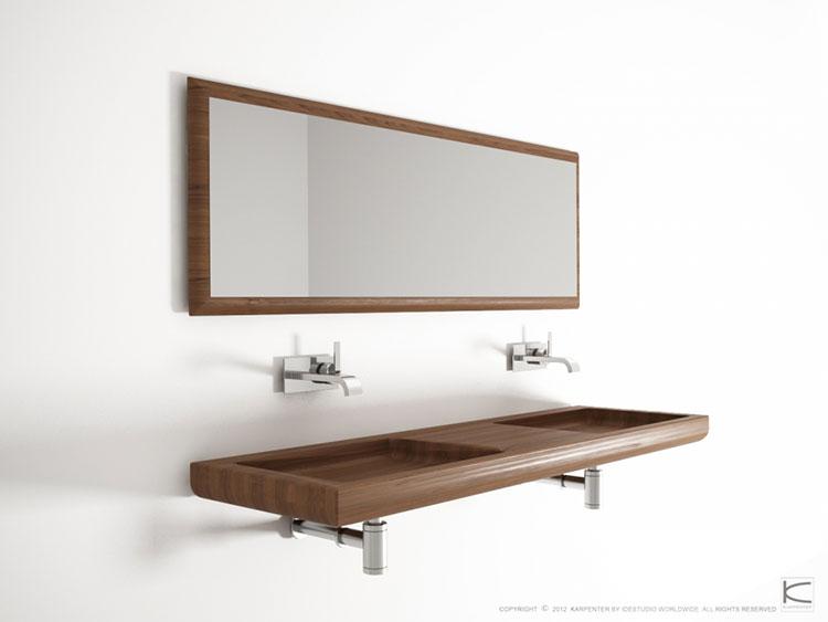 Modello di lavabo bagno in legno dal design originale n.06
