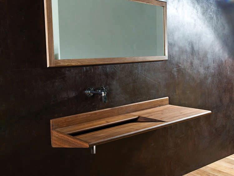 Modello di lavabo bagno in legno dal design originale n.07