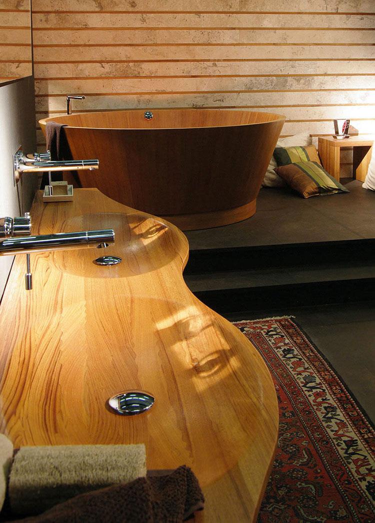 Modello di lavabo bagno in legno dal design originale n.08