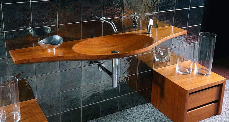 Modello di lavabo bagno in legno dal design originale n.09