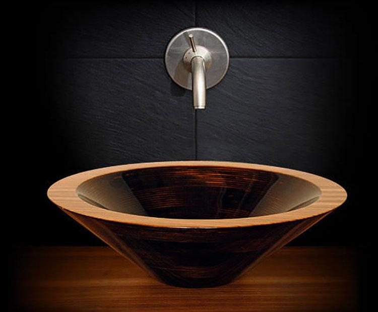 Modello di lavabo bagno in legno dal design originale n.11