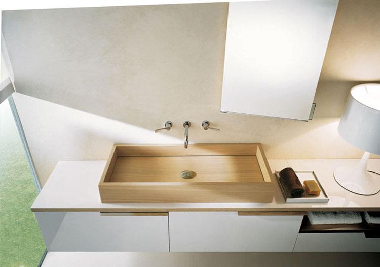 Modello di lavabo bagno in legno dal design originale n.14