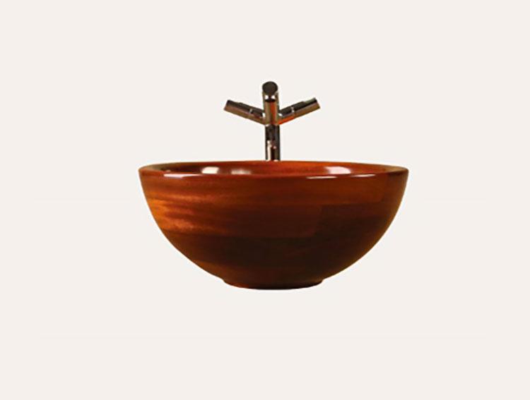 Modello di lavabo bagno in legno dal design originale n.16