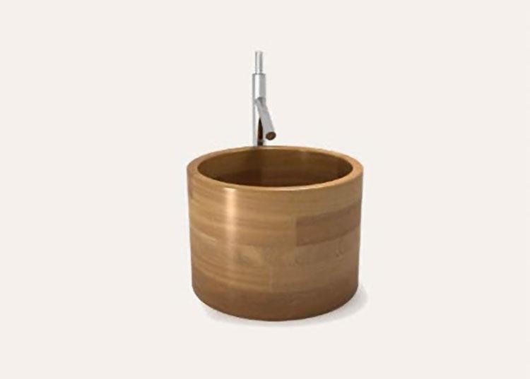 Modello di lavabo bagno in legno dal design originale n.17