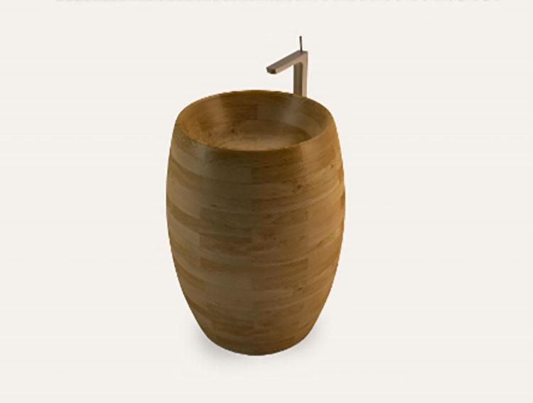 Modello di lavabo bagno in legno dal design originale n.19