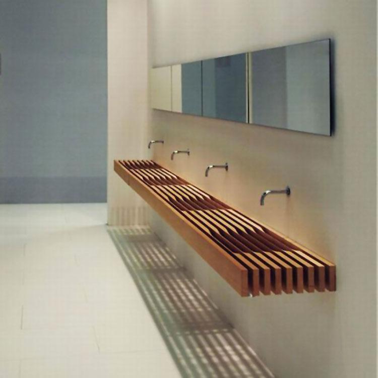 Modello di lavabo bagno in legno dal design originale n.20