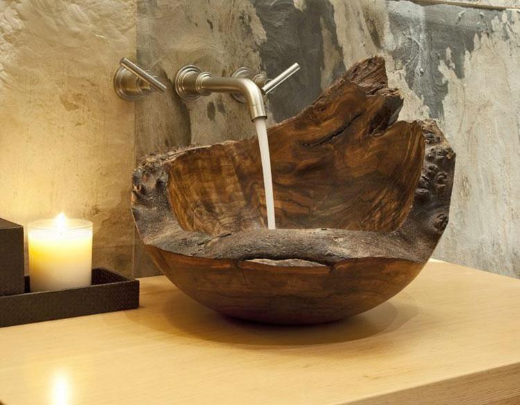 Modello di lavabo bagno in legno dal design originale n.21