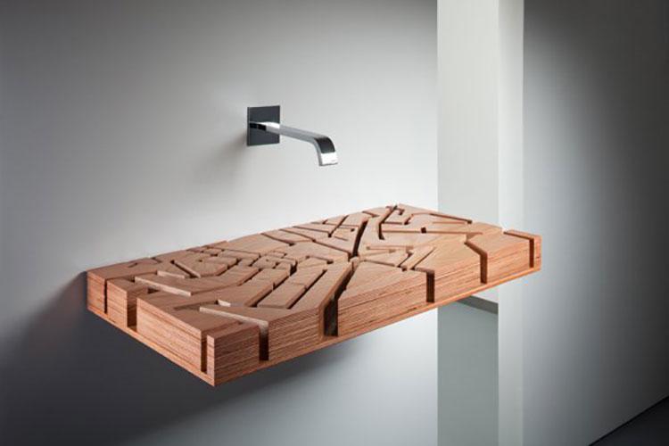 Modello di lavabo bagno in legno dal design originale n.23