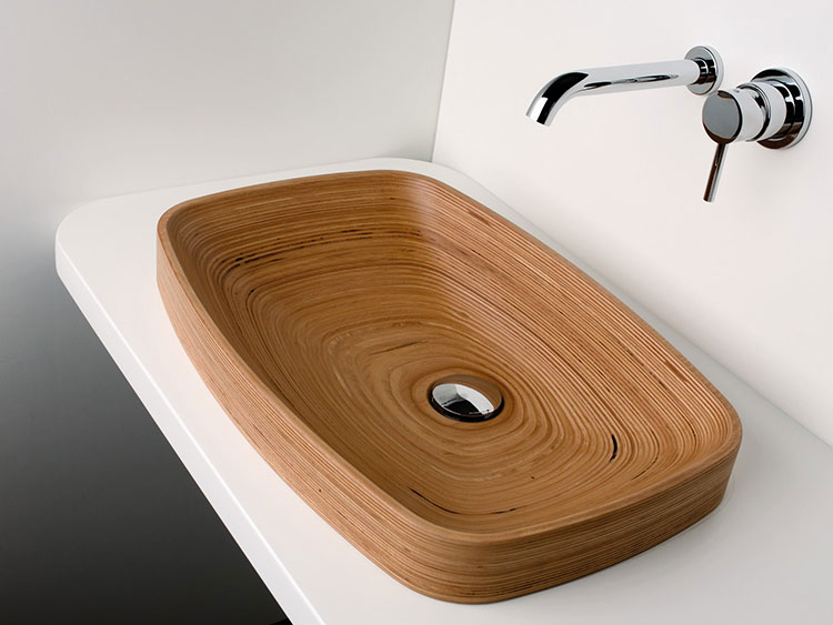 Modello di lavabo bagno in legno dal design originale n.24